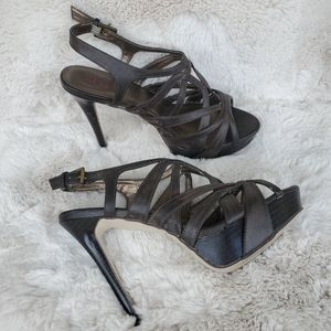 Size 9 Shi Strappy Heels in Brown